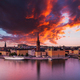 Scenic panoramic view of Gamla Stan, Stockholm at sunset, capital of Sweden - PhotoDune Item for Sale
