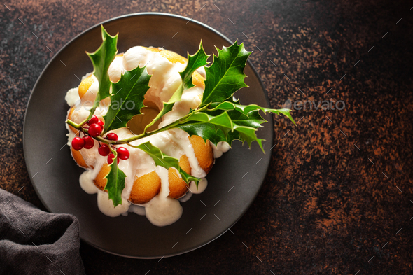 Christmas cake with deco on table - Stock Photo - Images