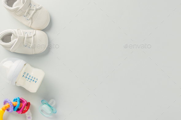 Baby care accessories flat lay - Stock Photo - Images