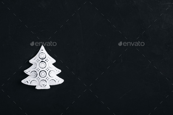 Christmas background with white metal christmas tree - Stock Photo - Images