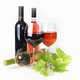 Wineglass, bottle of wine and grapes leaf - PhotoDune Item for Sale