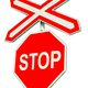 Stop sign on white background. Railroad crossing - PhotoDune Item for Sale