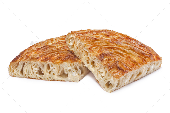Pieces of burek pie with cheese - Stock Photo - Images