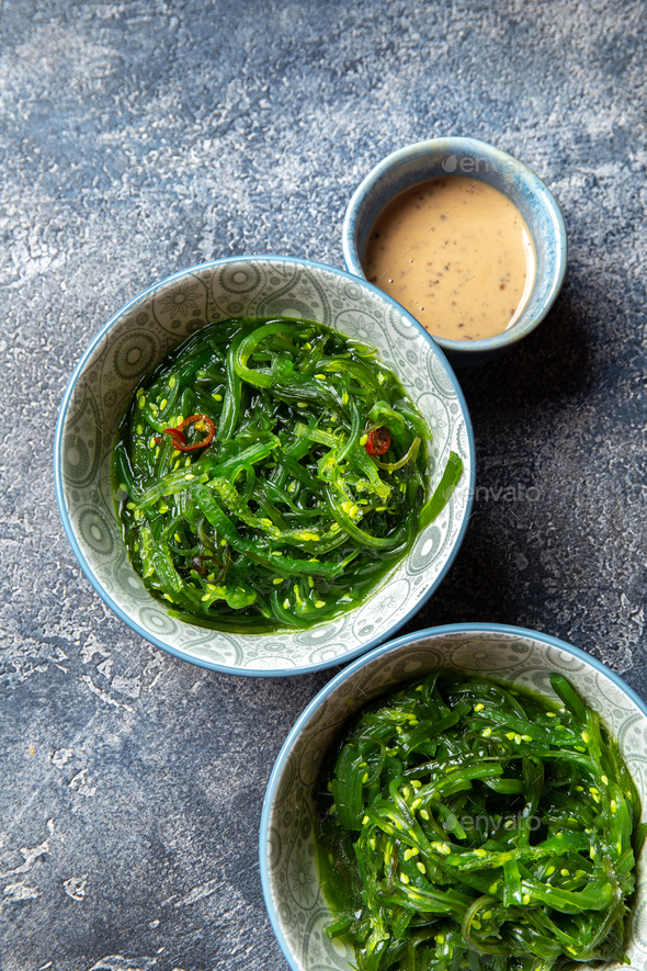 Chuka wakame,  seaweed japanese salad with nuts sauce. - Stock Photo - Images