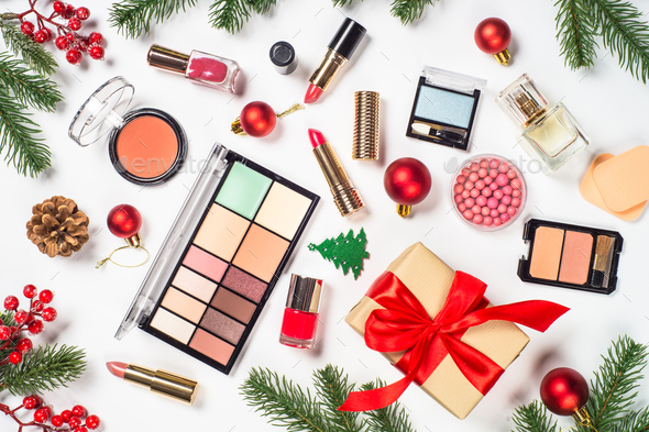 Makeup professional cosmetics with christmas decor - Stock Photo - Images