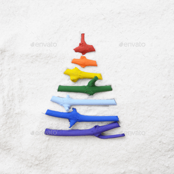 Flat lay stylized Christmas tree made of small twigs - Stock Photo - Images