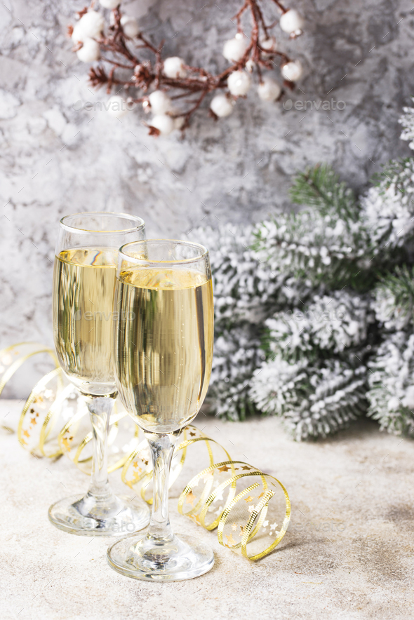 Glasses of champagne, traditional New year drink - Stock Photo - Images