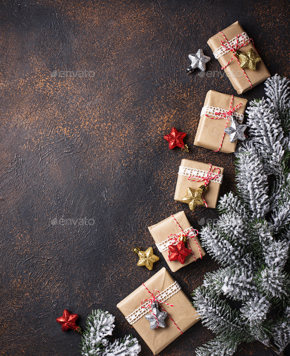 Christmas gift boxes in craft paper - Stock Photo - Images