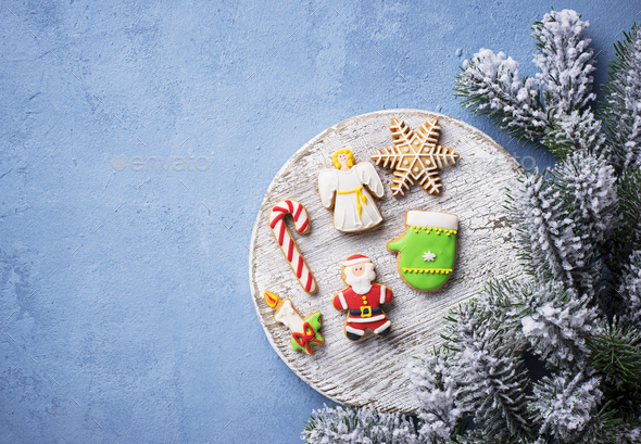 Christmas gingerbread cookies. Festive background - Stock Photo - Images