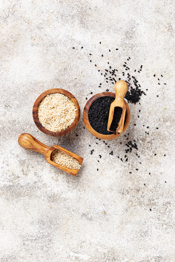 White and black sesame seeds - Stock Photo - Images
