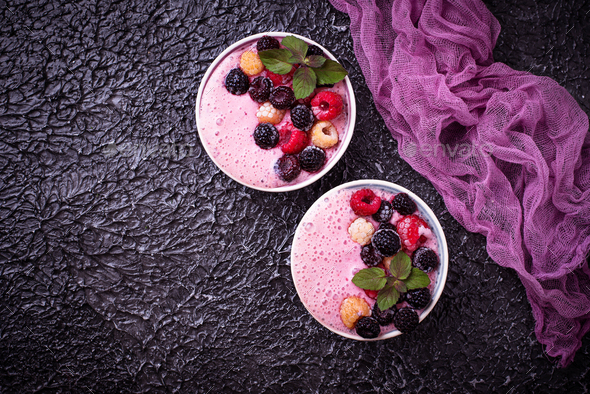 Smoothie bowl with frozen berry - Stock Photo - Images