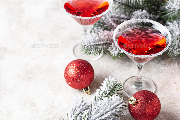 Christmas festive cocktail red martini - Stock Photo - Images