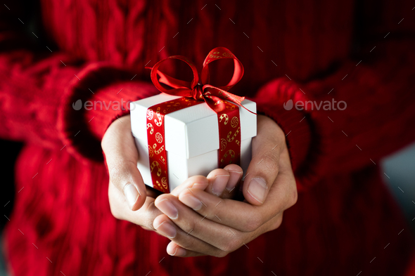 Merry Christmas theme giving gift - Stock Photo - Images