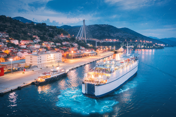 Aerial view of cruise ship in port at night. Landscape - Stock Photo - Images