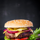 Big sandwich - hamburger burger with beef,  tomato, cheese, pickled cucumber and red onion. - PhotoDune Item for Sale