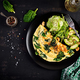 Ketogenic, paleo diet breakfast. Omelette with spinach and avocado, cucumber. Top view, copy space - PhotoDune Item for Sale