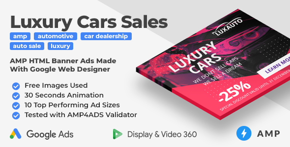 Luxauto - Luxury Cars Sales & Service Animated AMP HTML Banner Ad Templates (GWD, AMP)