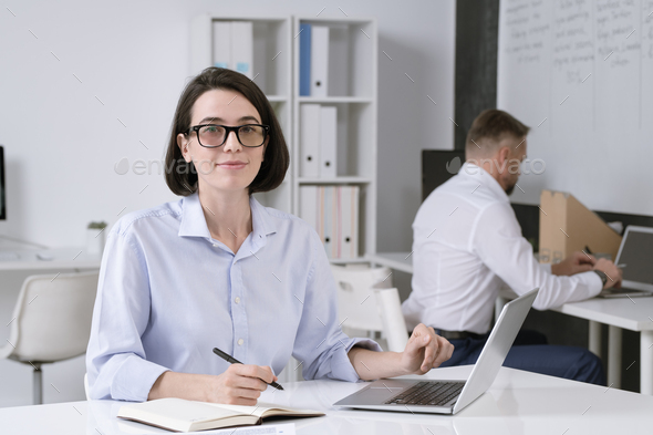 Young successful businesswoman with pen over open notebook browsing in the net - Stock Photo - Images