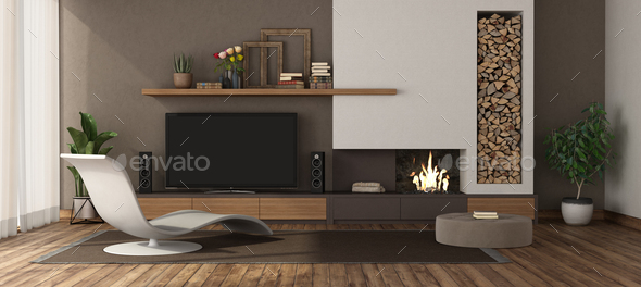 Modern Living Room With Fireplace And Tv Set Stock Photo By Archideaphoto