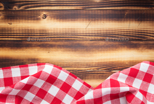 checked cloth napkin or tablecloth - Stock Photo - Images