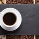cup of coffee and beans on slate stone black tray - PhotoDune Item for Sale