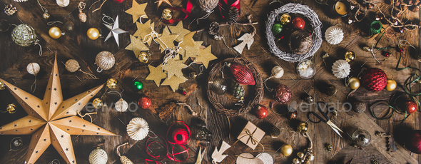 Christmas or New Year holiday decoration layout background, wide composition - Stock Photo - Images