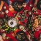 Flat-lay of friends celebrating Christmas over festive table, top view - PhotoDune Item for Sale
