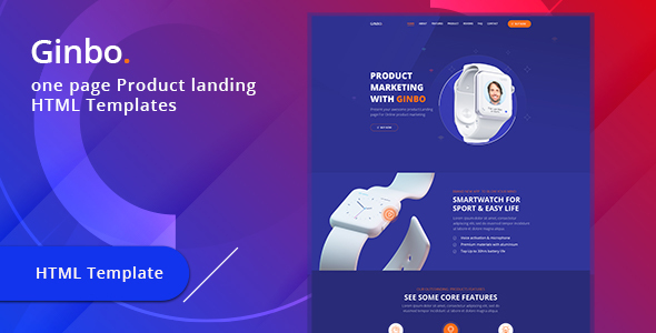 Ginbo - Product Landing Page HTML Template