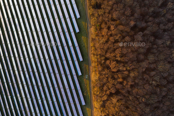 Solar panels - drone view - Stock Photo - Images