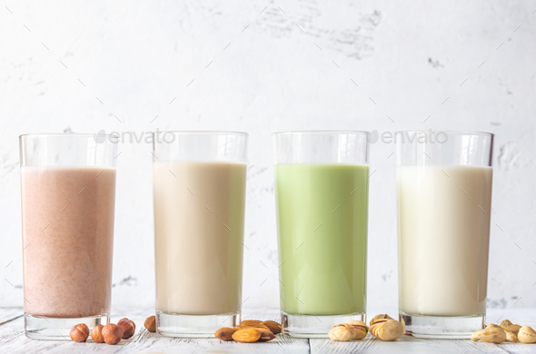 Assortment of different kinds of milk - Stock Photo - Images