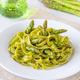 Spinach fettuccine with fried asparagus - PhotoDune Item for Sale