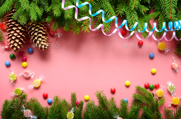 Flat lay design of Christmas greeting card of fir twigs cones - Stock Photo - Images