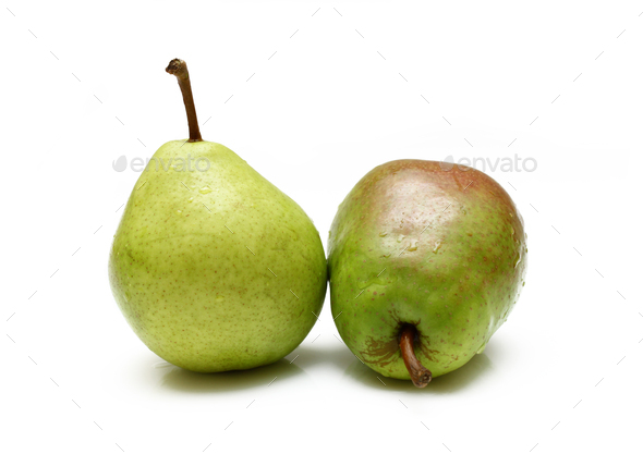 Two green pears - Stock Photo - Images