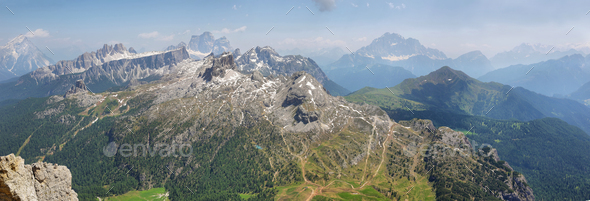 View from the top of Lagazuoi, Dolomites, Italy - Stock Photo - Images