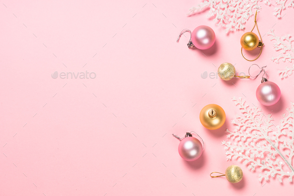 Christmas flat lay background with pink and white decorations on pink - Stock Photo - Images