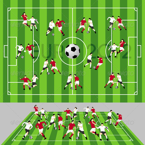 Football Field with Ball and Players - Sports/Activity Conceptual