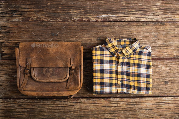 Autumn flat lay with clothes - Stock Photo - Images