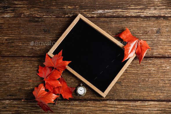 Autumnal flat lay with chalkboard - Stock Photo - Images