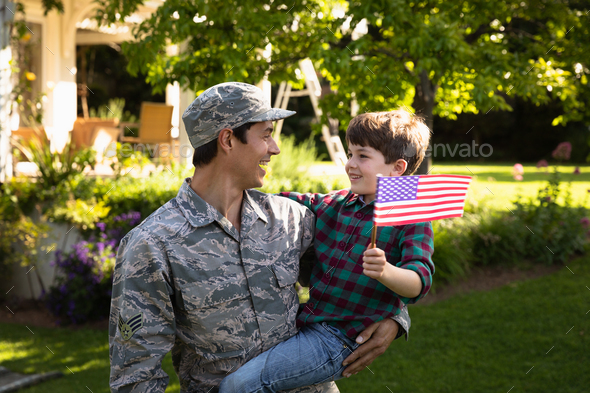 Soldier with son - Stock Photo - Images