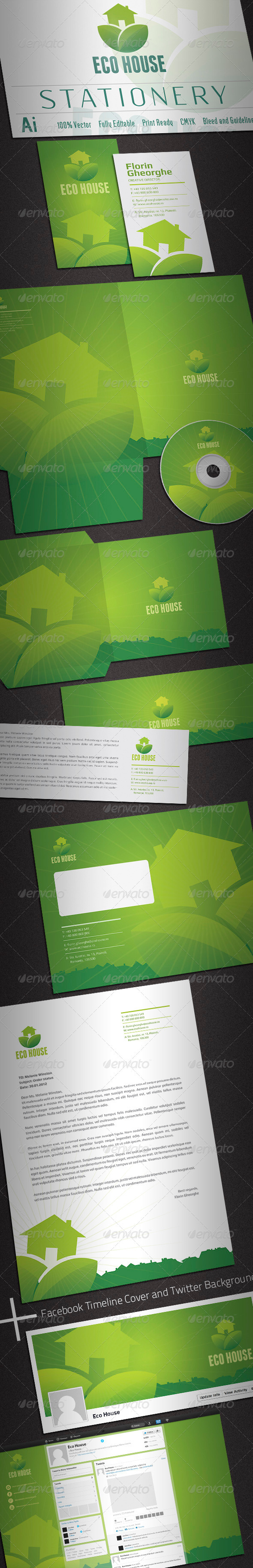 Eco House Stationery - Stationery Print Templates