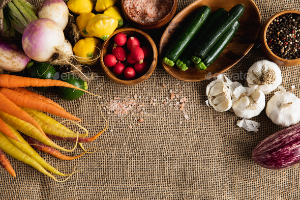 Autumn harvest flat lay with food - Stock Photo - Images