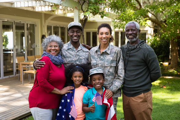 Portrait of soldier with family - Stock Photo - Images