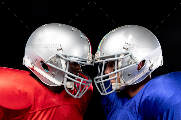 Two American football players head to head - Stock Photo - Images