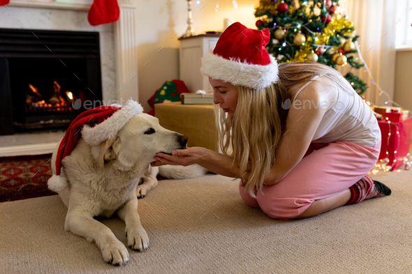 Woman at home at Christmas time - Stock Photo - Images