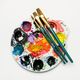 Color mixing plate and paintbrushes - PhotoDune Item for Sale