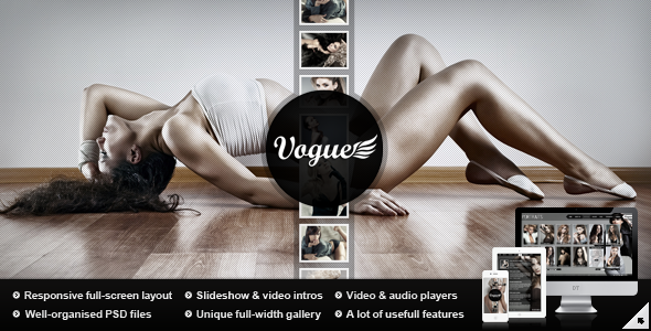 Vogue PSD — Responsive Fullscreen Photo Template