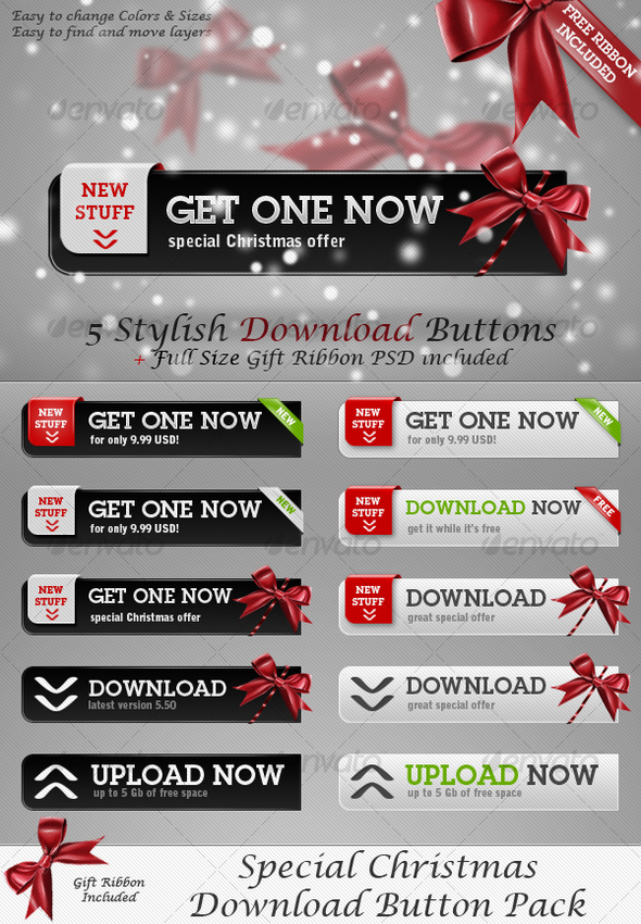 Special Christmas Download Button Pack - Buttons Web Elements