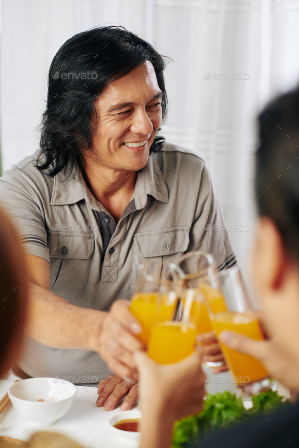 Mature man at dinner - Stock Photo - Images