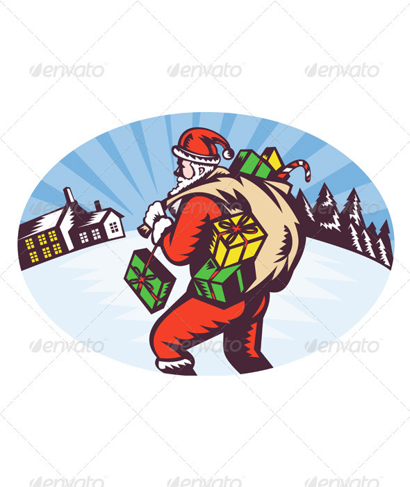 Santa Claus Bearing Presents Winter Scene - Christmas Seasons/Holidays