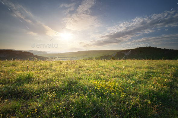 Sunny morning in mountain. - Stock Photo - Images